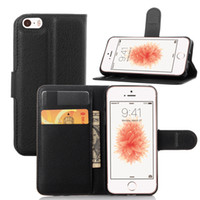 For iPhone 5 5S SE Litchi Leather Flip Case+ TPU Back Cover W...