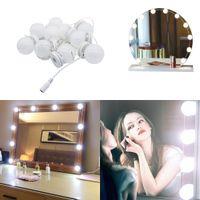Faça 10LED espelho espelho espelho LED lâmpadas kit de lâmpada para molho de mesa salon dc12v com interruptor