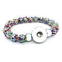 LUWELLEVER 029 Değiştirilebilir Boncuklu Strands Şeker Renkleri Genişletilebilir Streç Cam Bilezik 18mm Snap Düğmesi Takı