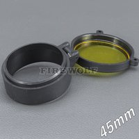 45mm 손전등 커버 스코프 커버 라이플 스코프 렌즈 커버 내부 직경 45mm 투명한 노란색 유리 사냥