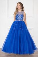 Lovely White Wine Blue Tulle Jewel Beads Flower Girl Dresses...