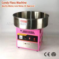 Elektrikli Pamuk Şeker Makinesi Ticari Şeker Ipi Maker 52 cm Üst Kase Pembe Renk 220 V 1030 W Çekmece ile Kaşık