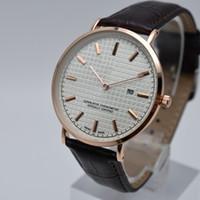 Vente chaude 40mm quartz ceinture en cuir 2 aiguille ultra-mince cadrans de mode hommes montres jour ouvrable date designer hommes robe montre cadeau montre-bracelet