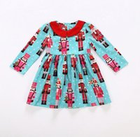 Cute Toddler Baby Girl Christmas old man Clothes Set blue printe Vestido Long-Sleeves Conjuntos de falda