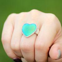 Novo Antigo Prata Jóias Amor Humor Coração Solitaire Anéis Vintage Color Mudança Anel Tamanho 7/8/9 MJ-RS056
