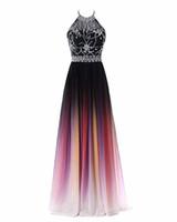 2019 Seksi Halter Boyun A-line Degrade Renk Gelinlik Modelleri Boncuklu Sheer Boyun Lace Up Dalma Geri Tasarım Kadınlar Abiye Bel Boncuklu Kanat