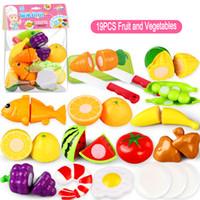 25 Unid / set De Plástico Cocina Comida Fruta Vegetal Juguetes de Corte Los Niños Pretenden Jugar Juguetes Educativos de Cocina Cocinar Cosplay Niños