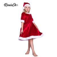 Reneecho 2018 рождественский костюм для детей Санта-Клаус платья девушки малыш косплей дети праздник Хэллоуин наряд шляпа костюм