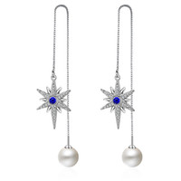 ED335 Top Quality Cubic Zirconia Sunshine sliver Plated Fashion Chain Earrings Jewelry For Women Austrian Crystal Wholesale