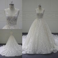 Deep V- Neck Sleeveless Wedding Dresses Open Back Lace Appliq...