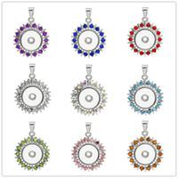 Noosa Snap Buttons Garland colgante collares de acero inoxidable cadena de joyería colores Rhinestone colgante collar