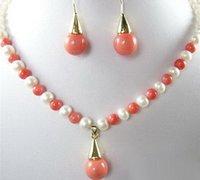 Collier rose Boucles d'oreilles Coral Pearl Shell Set Pendentif 18kgp Blanc Couleur IXPRP