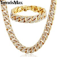 Trendsmax Hiphop Miami Curb Cuban Womens Mens collar pulsera conjunto de joyas Bling Iced Out oro plata color 14mm GS259