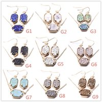 10Colors Drusy Druzy Dangle Earrings Necklace Jewelry Set Go...