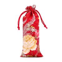 Yeni Uzatmak Çin Kumaş Hediye Çantası Çiçek Combs Takı İpek Brocade Kılıfı Küçük İpli Çanta Ambalaj 7x18 cm 3 adet / grup