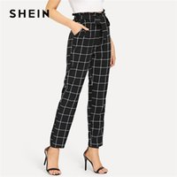 SHEIN Black And White Office Lady Elegant Self Belted Slant ...