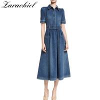 Yeni 2018 Tasarımcı Denim Elbise Giyim Kadın Kot Elbise Pist Kısa Kollu Slim Fit Cep Kovboy Rahat Uzun Kemer Ile