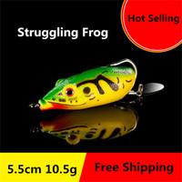 New Soft Ray Struggling Frog Single hook Spinnerbaits 5.5cm 10.5g Bionic Frog Snakehend False Laser Fishing Lure