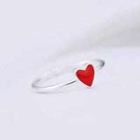 Kadınlar için yeni Sıcak Vintage Kırmızı Kalp Yüzükler Ayarlanabilir Küçük Kalp Yüzük Seti Parti Moda Takı Alyans