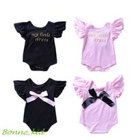 Bowknot baby girl romper cotton kid jumpsuit clothing pink b...