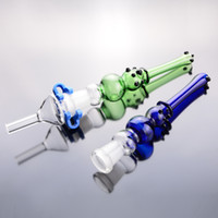 """kits embout de tube de verre bleu-vert 14mm joint 6"""" tuyau barboteur Fumer est bong avec des clips en plastique"""