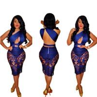 Летние Женщины Кружева Пустые OUT Bandage Bodycon Платье Сексуальная Без рукавов Синяя Партия Club Midi Vestidos S-XL