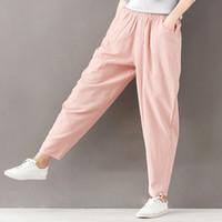 Nouveau Vintage Coton Lin Harem Pantalon Pantalon Femmes D été Élastique  Haute Taille Femmes Pantalons be2e35683226
