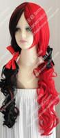 Batman Harley Quinn Rot Schwarz Lange Wellenförmige Cosplay Party Perücke Haar