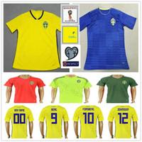 97eedd8223 Camisas De Futebol Da Copa Do Mundo De 2018 Suecia Casa Amarela Fora Azul  JOHANSSON JOHNSSON