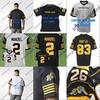 # 2 Johnny Manziel Hamilton Tiger Cats Custom Jersey 2018 новый стиль мужские женские молодежи 100% сшитые вышивкой логотипы майки черный белый
