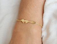 Серебряный Золотой милый лес работает Фокс Шарм кулон браслет простой животных Фокс браслеты крошечные Лисий Хвост браслеты для подарков ювелирные изделия