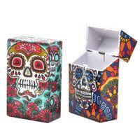 Geist Zigarettenetui Schädel-Kopf-Tabak-Speicher-Fall-Taschen-Box gedruckt Zigarettenhalter aus Kunststoff Zigarette W09B