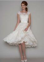 Длина колена старинные кружевные короткие свадебные платья без рукавов шеи кнопки назад 50s неформальные a-line Bridal платья на заказ