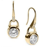 Hook Earrings Gold Fashion Brand Crystal Dangle Earrings Stu...