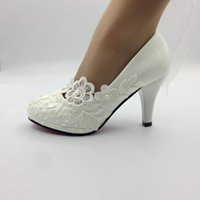 Handmade white lace pearl wedding Pumps shoes women High Hee...