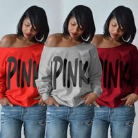 Women Hoodies Sweatshirt Pink Letter Printed Long Sleeve Sex...