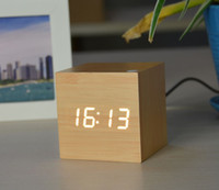 Free shipping Mini Cube Wooden Clock Voice Control Electroni...