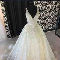 Ivory Wedding Dresses With Bling Bling Sequins Lace Bridal G...