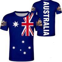 AUSTRALIA t shirt 무료 맞춤형 이름 번호 패션 검정 검정 회색 티셔츠 국가 티셔츠 국가 au 의류 깃발 탑