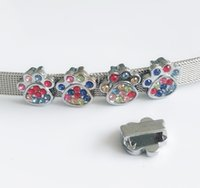 10шт 8 мм красочные горный хрусталь Лапа печати слайд подвески Fit Pet собака имя ремни Теги полосы браслеты браслеты