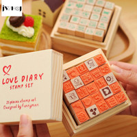 25 pcs set Mini Cute diary wooden rubber stamp gift box sets...