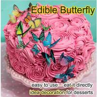 34 unids / set mariposa comestible para la torta 3d mariposas Decoraciones de la torta Herramientas, idea creativa decoración torta topper hornear suministro