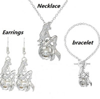Love Wish Pearl Cages Locket Jewelry Sets Mermaid Natural Fr...