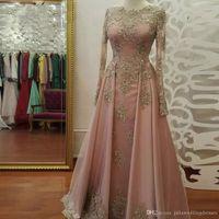 Modest Manica Lunga Blush Pink Prom Dresses Indossare pizzo Appliques Crystal Abiye Dubai Abiti da sera Caftano Abito da partito musulmano QC1119