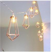 Retro Eisen Metalldiamant-LED-Fee-Schnur-Licht-Batterie-Weihnachtsfeiertags-Hochzeitsfest-Ausgangsdekoration 10 Leds Laterne String-Lampen