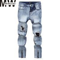 Mrwonder Erkekler Moda Dayanıklı Uzun Kot Pantolon Fermuar Trim ile Delik Düz Jeans Broken