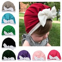 New baby hat boy girl bow rabbit ear children' s knitted...