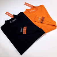 17FW Heron Preston Tee CTNMB Lettre Broderie Col Haut Bas Chemise T-Shirts Mode Couple Highstreet HFYTWY012