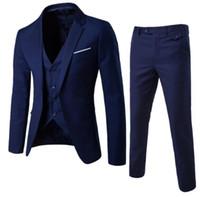 뜨거운 판매 슬림 맞는 신랑 턱시도 Groomsmen 사이드 통풍구 최고의 남자 정장 남자 정장 (자켓 + 바지 + 조끼) 3 피스 정장