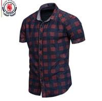 Fredd MARSHALL New Summer manga curta Denim camisa dos homens Casual Negócios Plaid Shirts Vestuário para homem 100% algodão 55891